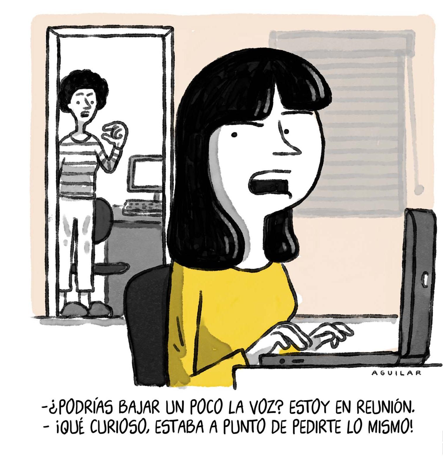 mujer discutiendo con compañera de casa por problemas de bulla en home office