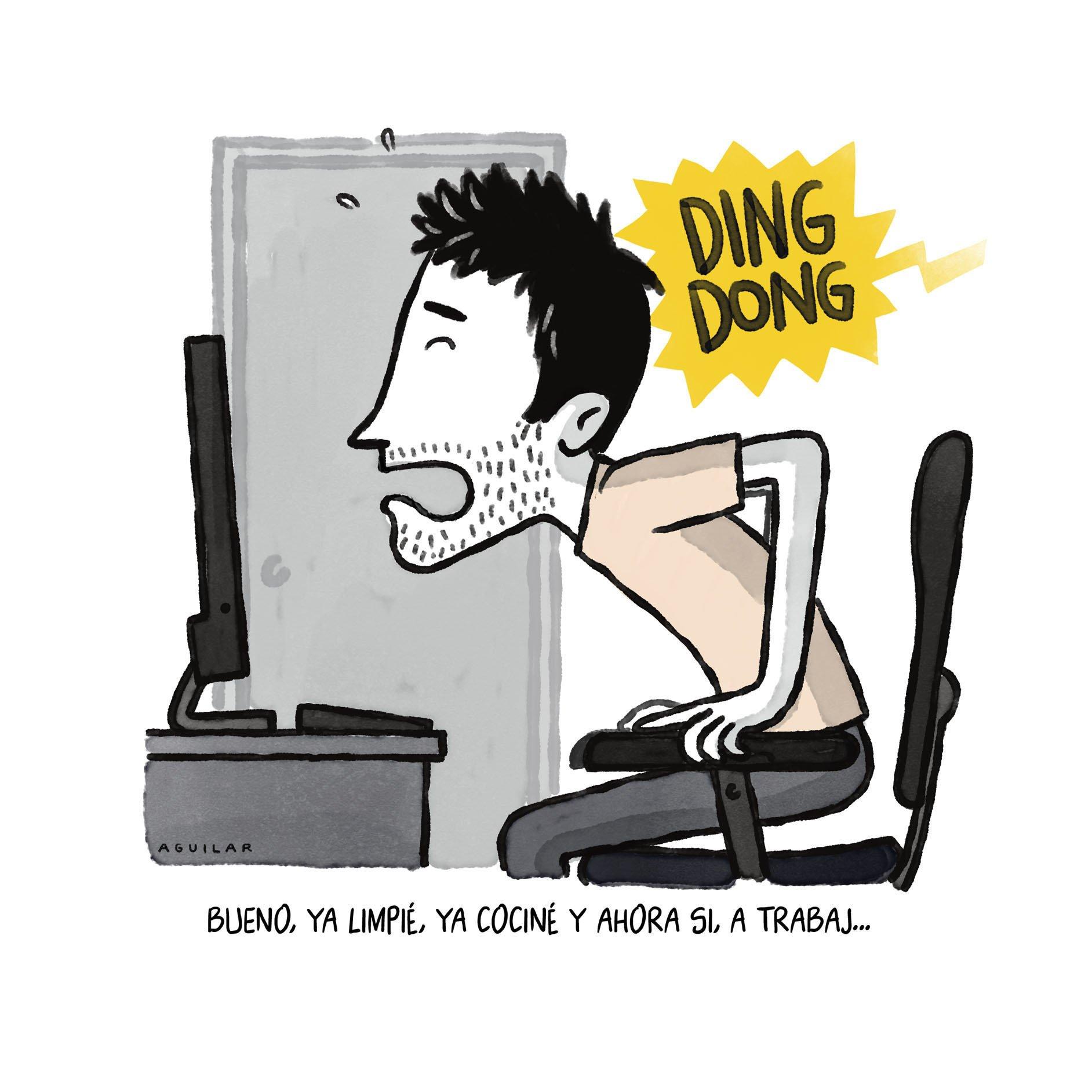 hombre joven que no puede concentrarse trabajando desde casa porque tiene demasiadas interrupciones